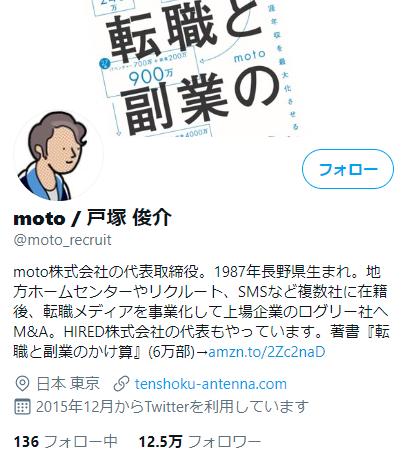 motoさんのTwitterプロフィール画像
